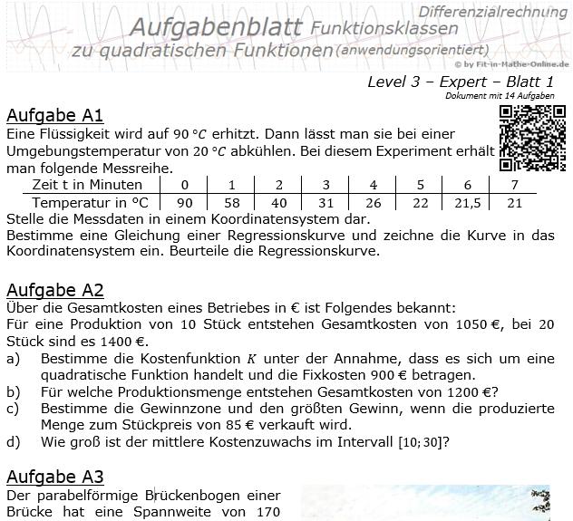 Quadratische Funktionen (Parabeln) Aufgabenblatt 3/1 / © by Fit-in-Mathe-Online.de