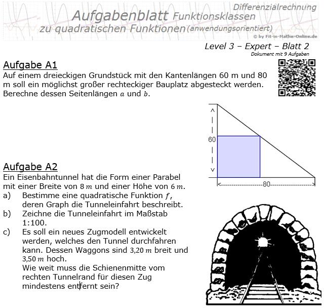Quadratische Funktionen (Parabeln) Aufgabenblatt 3/2 / © by Fit-in-Mathe-Online.de