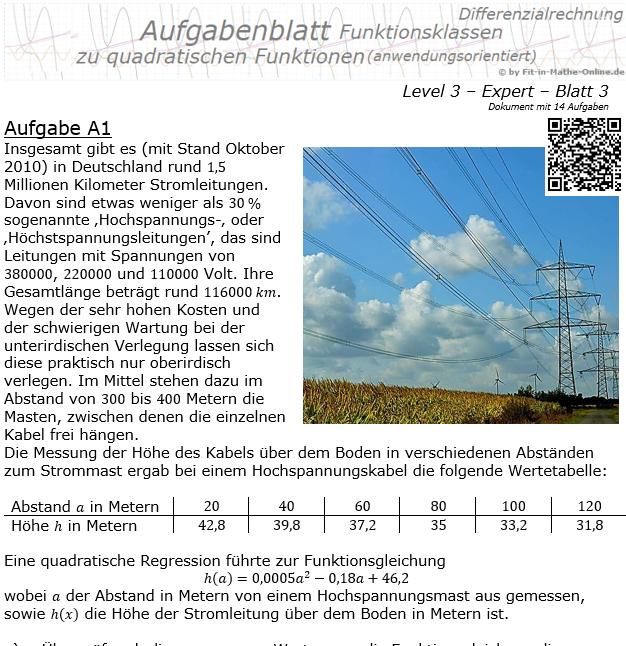 Quadratische Funktionen (Parabeln) Aufgabenblatt 3/3 / © by Fit-in-Mathe-Online.de