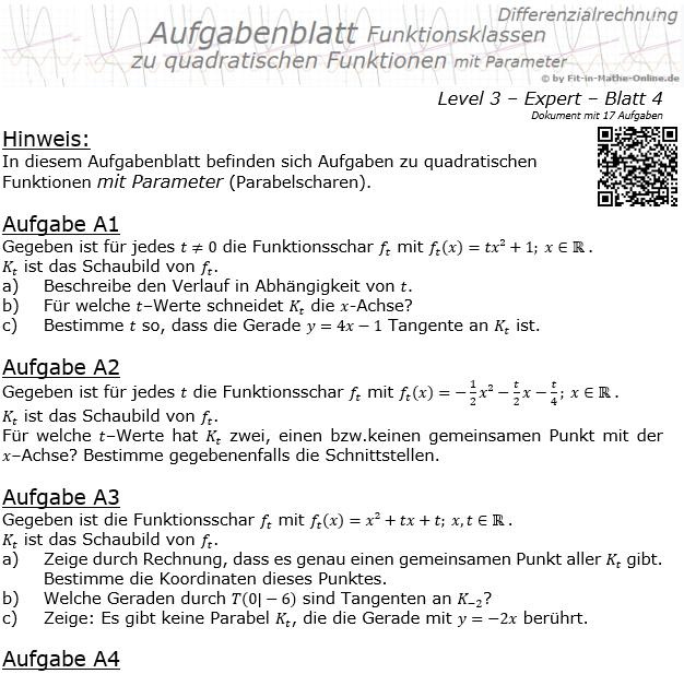 Quadratische Funktionen mit Parameter Aufgabenblatt 3/4 / © by Fit-in-Mathe-Online.de