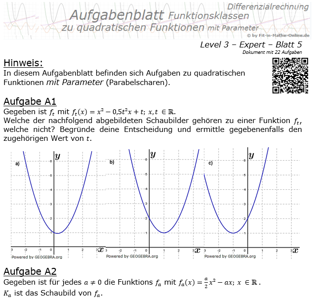Quadratische Funktionen mit Parameter Aufgabenblatt 3/5 / © by Fit-in-Mathe-Online.de