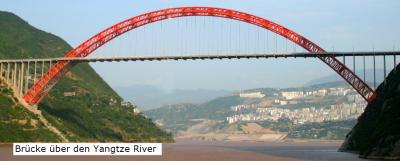 Durch welche Parabel kann der Verlauf des Brückenbogens der Yangtze River Brücke (China) näherungsweise beschrieben werden? (Grafik W0030 im WIKI zu quadratischen Funktionen in den Funktionsklassen /© by www.fit-in-mathe-online.de)