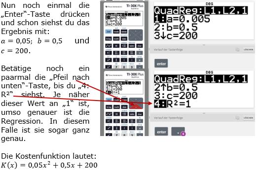 Graphik zu Aufstellung quadratischer Funktionen mittels Regression Bild 3 (Graphik W0043 Quadratische Funktionen der Funktionsklassen)/© by Fit-in-Mathe-Online