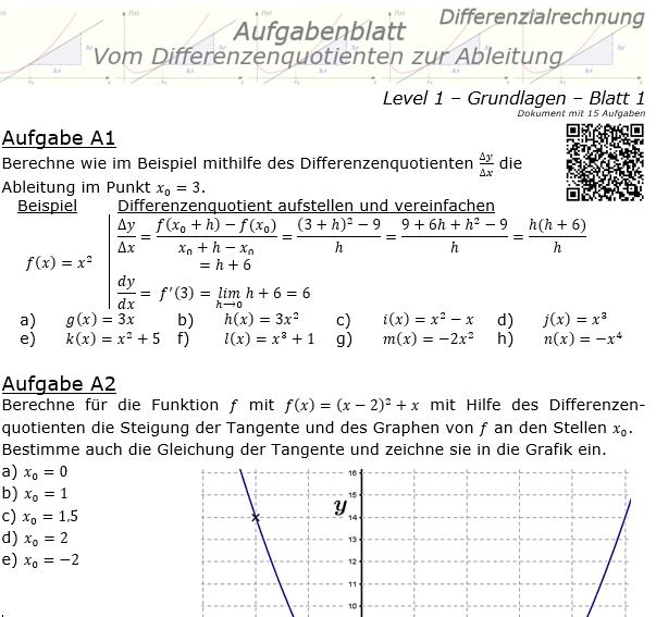 Vom Differenzenquotienten zur Ableitung Aufgabenblatt 1/1 / © by Fit-in-Mathe-Online.de