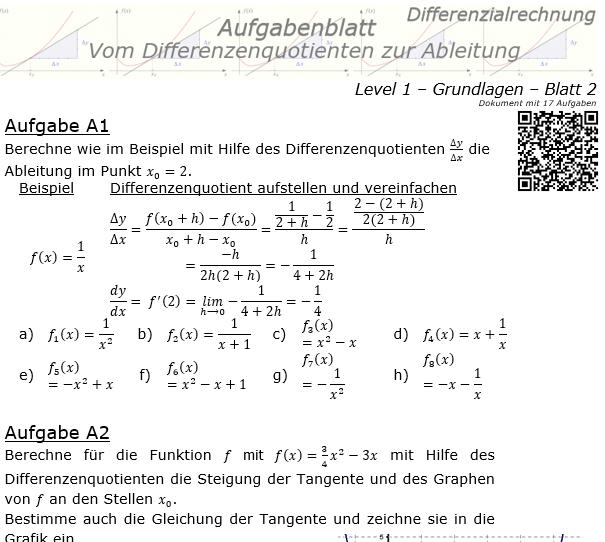 Vom Differenzenquotienten zur Ableitung Aufgabenblatt 1/2 / © by Fit-in-Mathe-Online.de