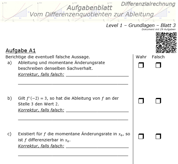 Vom Differenzenquotienten zur Ableitung Aufgabenblatt 1/3 / © by Fit-in-Mathe-Online.de