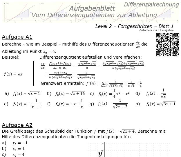 Vom Differenzenquotienten zur Ableitung Aufgabenblatt 2/1 / © by Fit-in-Mathe-Online.de