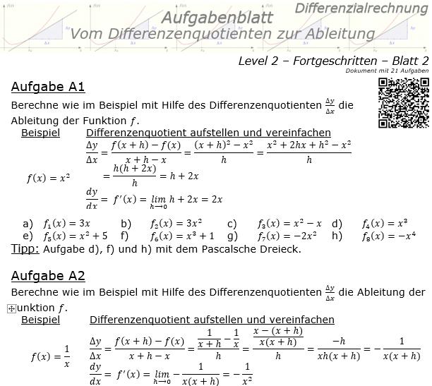 Vom Differenzenquotienten zur Ableitung Aufgabenblatt 2/2 / © by Fit-in-Mathe-Online.de