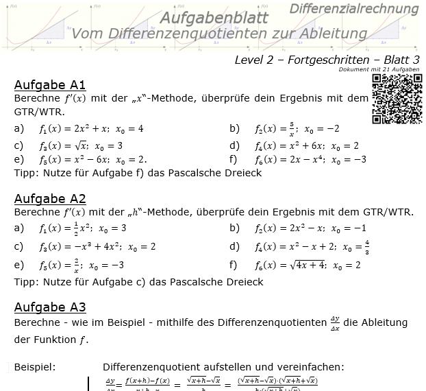Vom Differenzenquotienten zur Ableitung Aufgabenblatt 2/3 / © by Fit-in-Mathe-Online.de