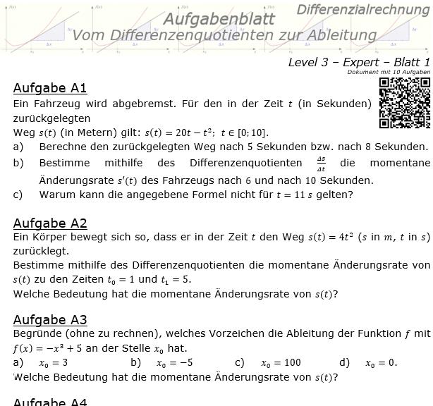 Vom Differenzenquotienten zur Ableitung Aufgabenblatt 3/1 / © by Fit-in-Mathe-Online.de
