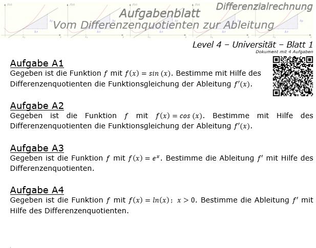 Vom Differenzenquotienten zur Ableitung Aufgabenblatt 4/1 / © by Fit-in-Mathe-Online.de