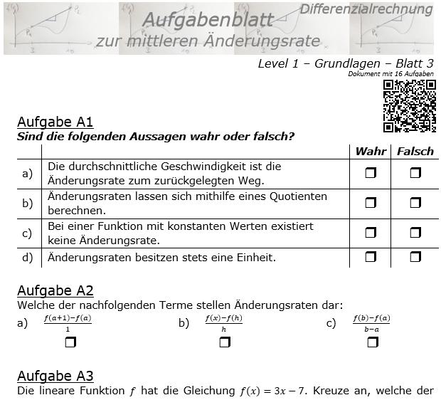 Mittlere Änderungsrate Aufgabenblatt 1/3 / © by Fit-in-Mathe-Online.de