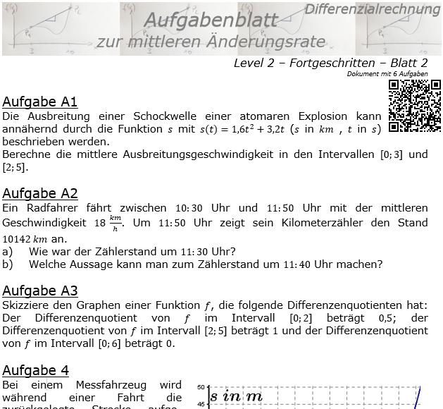 Mittlere Änderungsrate Aufgabenblatt 2/2 / © by Fit-in-Mathe-Online.de