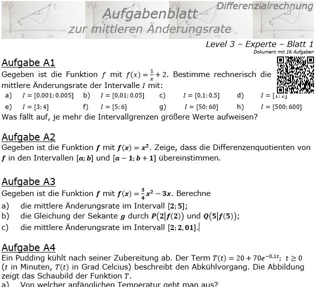Mittlere Änderungsrate Aufgabenblatt 3/1 / © by Fit-in-Mathe-Online.de