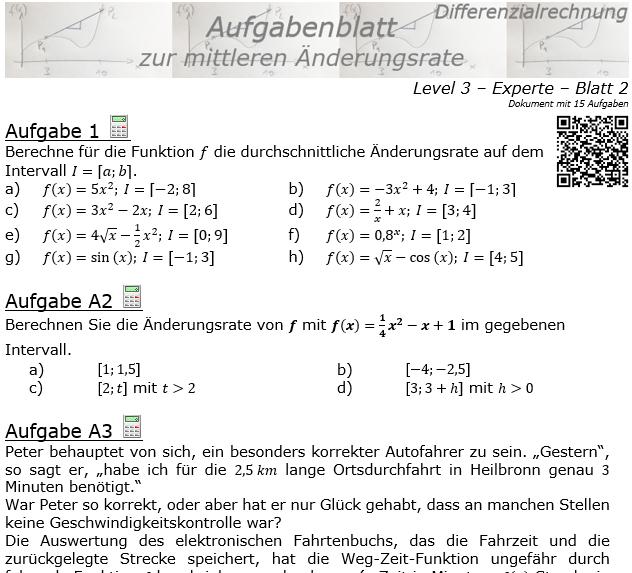 Mittlere Änderungsrate Aufgabenblatt 3/2 / © by Fit-in-Mathe-Online.de