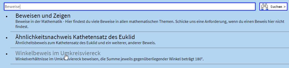 Finde hier alle mathematischen Beweise, die dich intressieren. (Suchroutine nach Beweisen/© by www.fit-in-mathe-online.de)