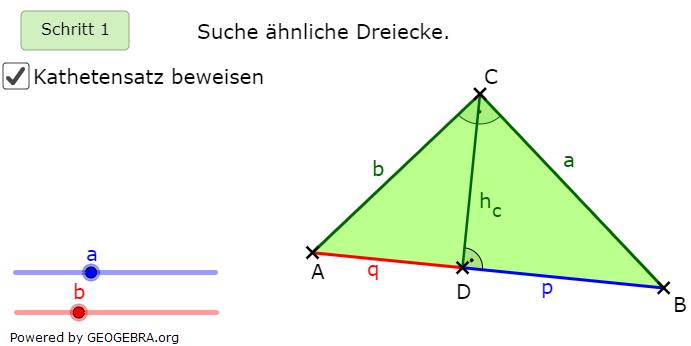 Wir suchen im 1. Schritt ähnliche Dreiecke. (Grafik kathetensatz-A0102 im Aufgabensatz Ähnlichkeitsbeweis Kathetensatz des Euklid) /© by www.fit-in-mathe-online.de)