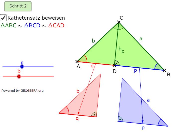 Im 2. Schritt stellen wir fest, dass die Dreiecke ΔABC, ΔBCD sowie ΔCAD ähnlich sind. (Grafik kathetensatz-A0103 im Aufgabensatz Ähnlichkeitsbeweis Kathetensatz des Euklid) /© by www.fit-in-mathe-online.de)