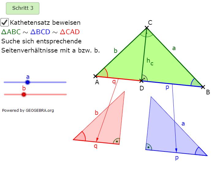 Im 3. Schritt suchen wir sich entsprechende Seitenverhältnisse mit den Seiten a bzw. b. (Grafik kathetensatz-A0104 im Aufgabensatz Ähnlichkeitsbeweis Kathetensatz des Euklid) /© by www.fit-in-mathe-online.de)