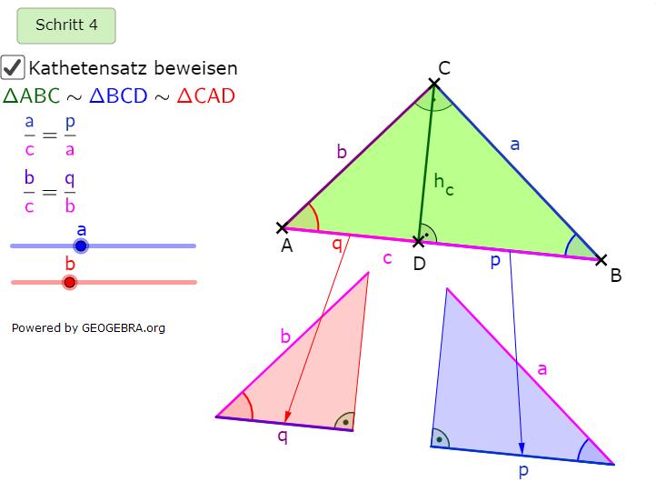 Wir stellen die Ähnlichkeiten von ΔABC und ΔBCD fest sowie für ΔABC und ΔCAD. (Grafik kathetensatz-A0105 im Aufgabensatz Ähnlichkeitsbeweis Kathetensatz des Euklid) /© by www.fit-in-mathe-online.de)
