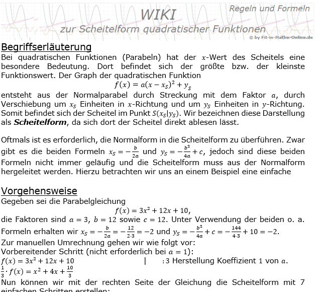WIKI quadratische Funktionen Scheitelform/© by www.fit-in-mathe-online.de