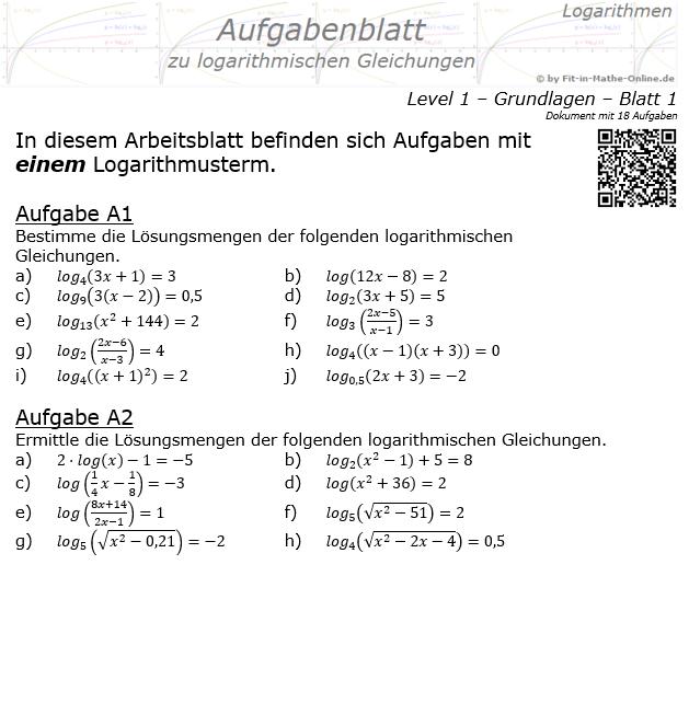 Logarithmische Gleichungen Aufgabenblatt 01 / © by Fit-in-Mathe-Online.de