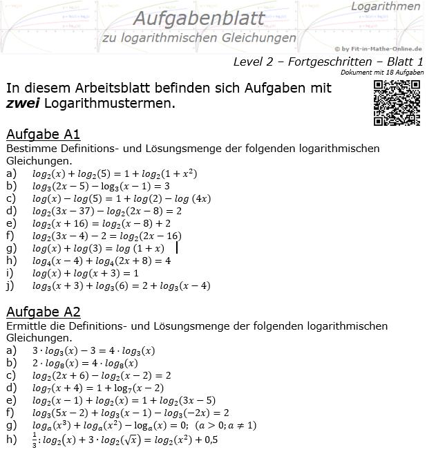 Logarithmische Gleichungen Fortgeschritten Aufgabenblatt 01 / © by Fit-in-Mathe-Online.de