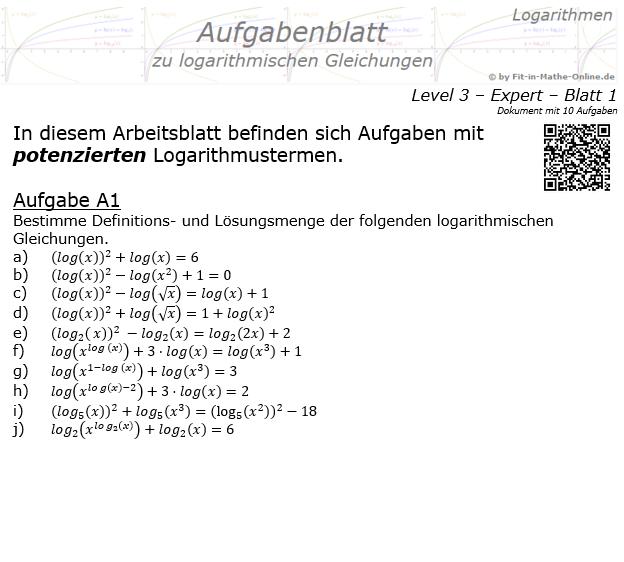 Logarithmische Gleichungen Expert Aufgabenblatt 01 / © by Fit-in-Mathe-Online.de