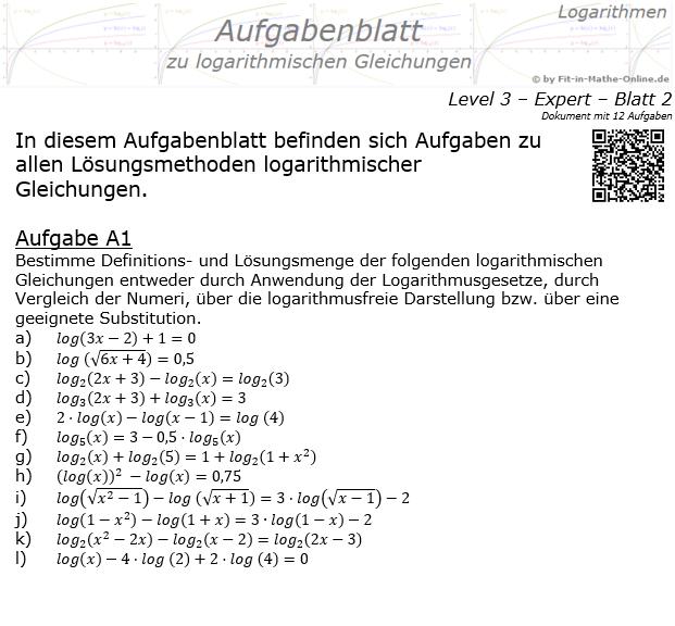 Logarithmische Gleichungen Expert Aufgabenblatt 02 / © by Fit-in-Mathe-Online.de