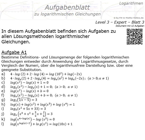 Logarithmische Gleichungen Expert Aufgabenblatt 03 / © by Fit-in-Mathe-Online.de