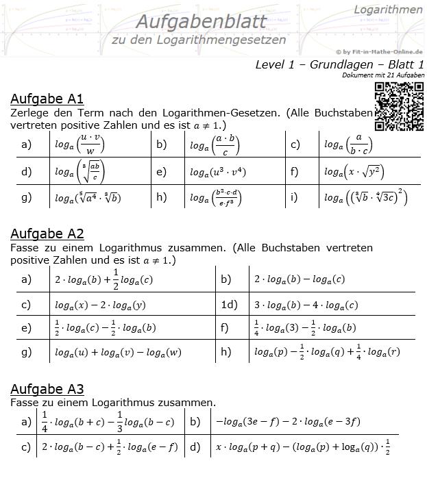 Logarithmengesetze Aufgabenblatt 01 Grundlagen 1/1 / © by Fit-in-Mathe-Online.de