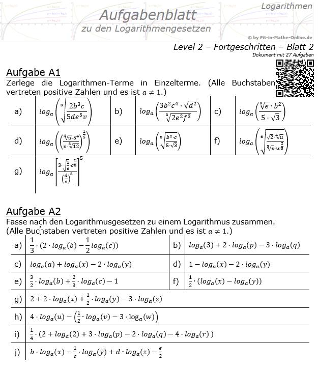Logarithmengesetze Aufgabenblatt 02 Fortgeschritten 2/2 / © by Fit-in-Mathe-Online.de