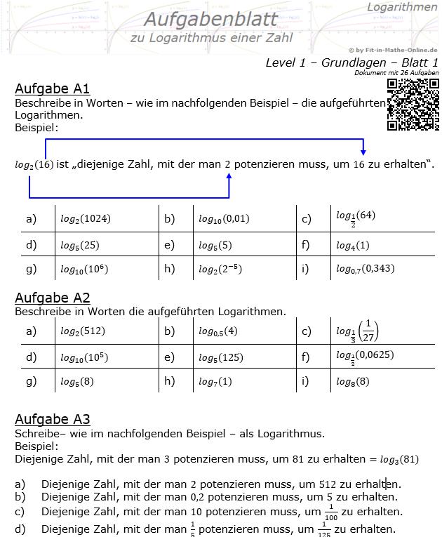 Logarithmus einer Zahl Aufgabenblatt 01 Grundlagen 1/1 / © by Fit-in-Mathe-Online.de