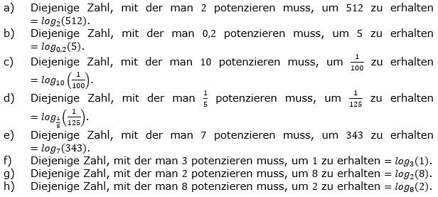 Logarithmus einer Zahl Lösungen zum Aufgabensatz 3 Blatt 01 © by www.fit-in-mathe-online.de