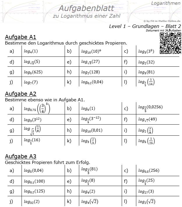 Logarithmus einer Zahl Aufgabenblatt 02 Grundlagen 1/2 / © by Fit-in-Mathe-Online.de