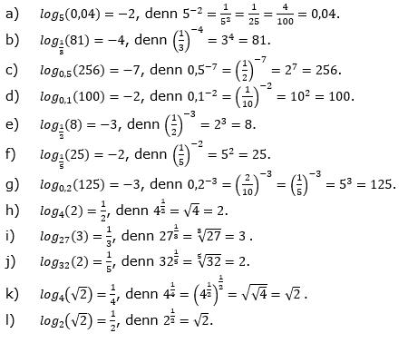 Logarithmus einer Zahl Lösungen zum Aufgabensatz 3 Blatt 02 © by www.fit-in-mathe-online.de
