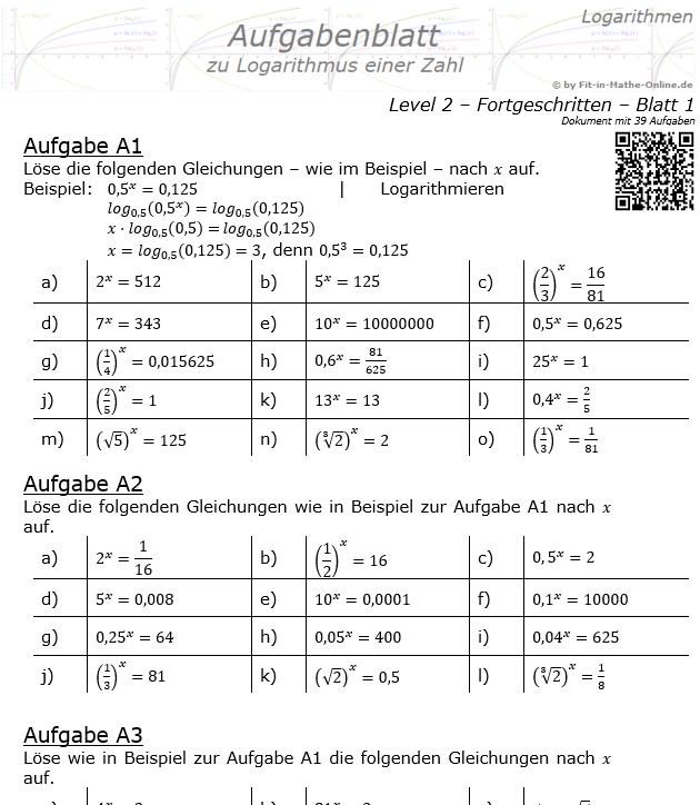 Logarithmus einer Zahl Aufgabenblatt 01 Fortgeschritten 2/1 / © by Fit-in-Mathe-Online.de