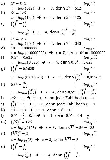 Logarithmus einer Zahl Fortgeschritten Lösungen zum Aufgabensatz 1 Blatt 01 © by www.fit-in-mathe-online.de