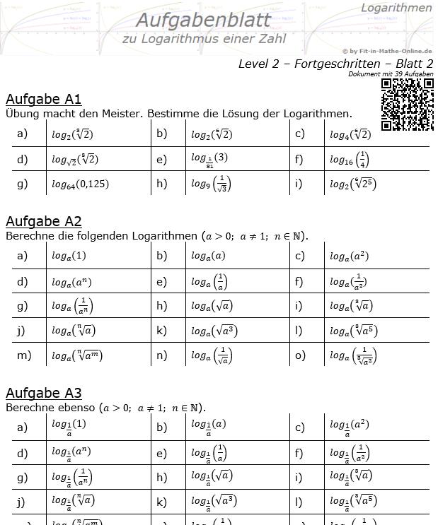 Logarithmus einer Zahl Aufgabenblatt 02 Fortgeschritten 2/2 / © by Fit-in-Mathe-Online.de