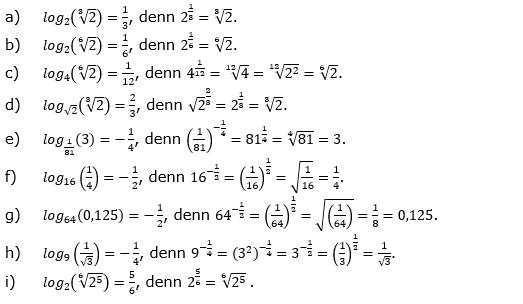 Logarithmus einer Zahl Fortgeschritten Lösungen zum Aufgabensatz 1 Blatt 02 © by www.fit-in-mathe-online.de
