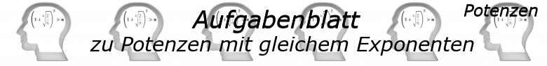 Potenzen mit gleichem Exponenten Aufgaben - Grundlagen - Level 1 - Blatt 1/© by www.fit-in-mathe-online.de