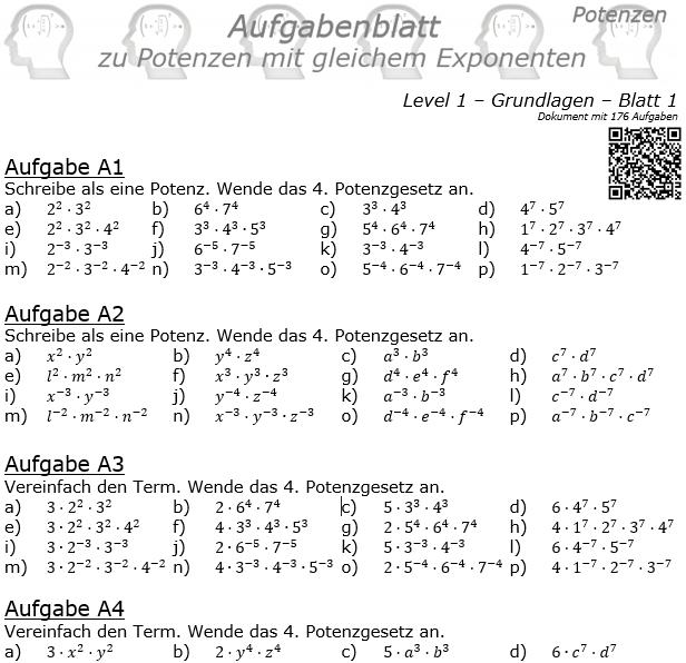 Potenzen mit gleichem Exponenten Aufgabenblatt Level 1 / Blatt 1 © by www.fit-in-mathe-online
