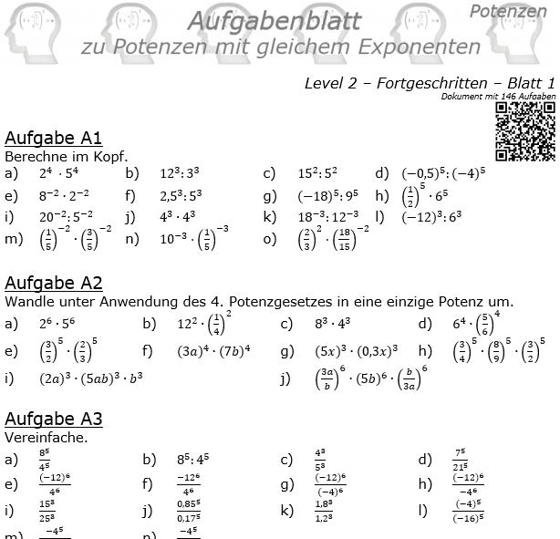 Potenzen mit gleichem Exponenten Aufgabenblatt Level 2 / Blatt 1 © by www.fit-in-mathe-online