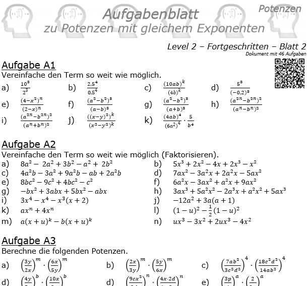 Potenzen mit gleichem Exponenten Aufgabenblatt Level 2 / Blatt 2 © by www.fit-in-mathe-online