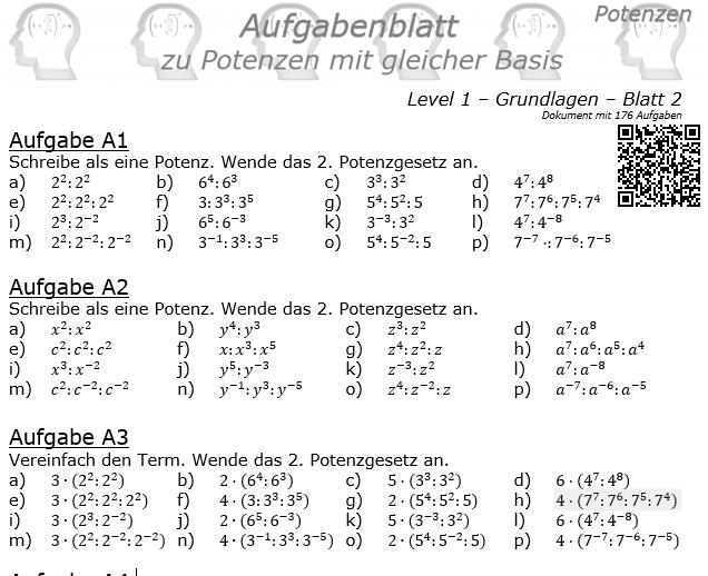 Potenzen mit gleicher Basis Aufgabenblatt Level 1 / Blatt 2 © by www.fit-in-mathe-online
