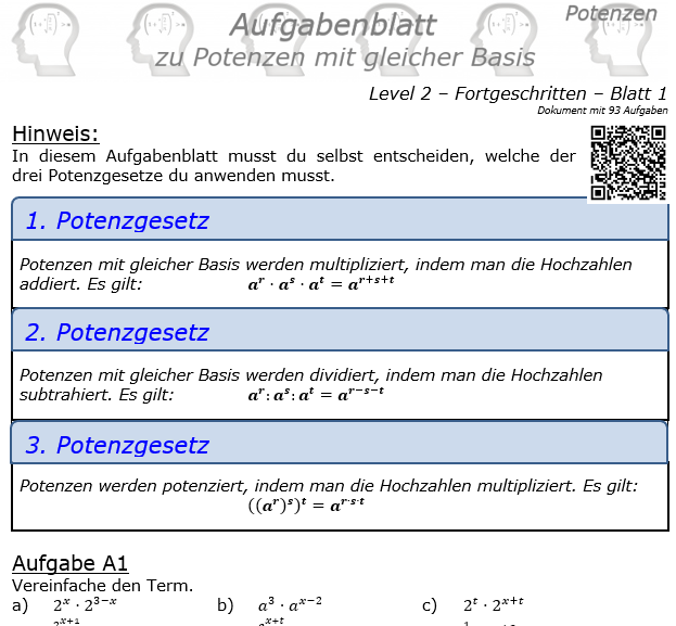 Potenzen mit gleicher Basis Aufgabenblatt Level 2 / Blatt 1 © by www.fit-in-mathe-online