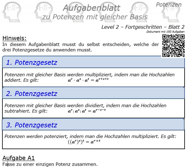 Potenzen mit gleicher Basis Aufgabenblatt Level 2 / Blatt 2 © by www.fit-in-mathe-online
