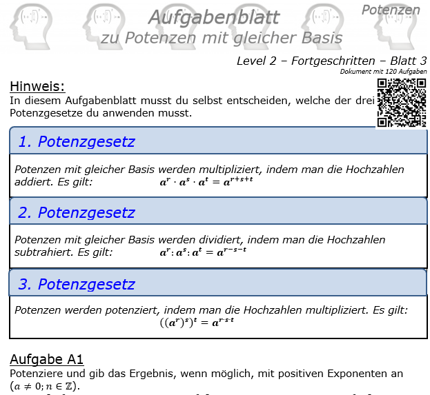 Potenzen mit gleicher Basis Aufgabenblatt Level 2 / Blatt 3 © by www.fit-in-mathe-online