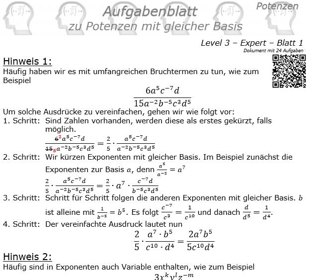 Potenzen mit gleicher Basis Aufgabenblatt Level 3 / Blatt 1 © by www.fit-in-mathe-online