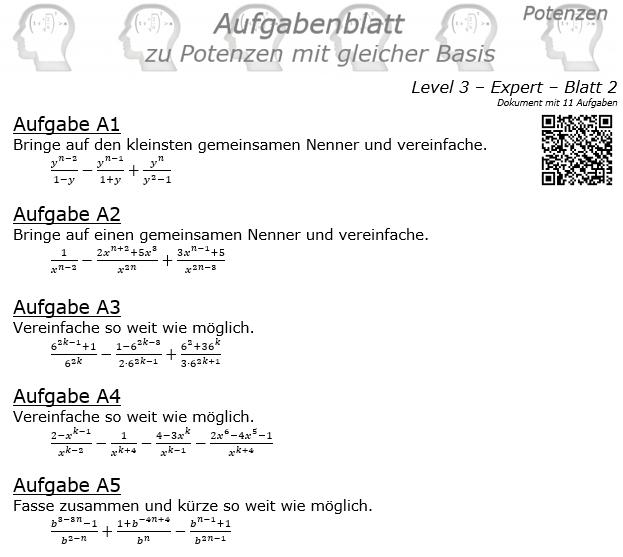 Potenzen mit gleicher Basis Aufgabenblatt Level 3 / Blatt 2 © by www.fit-in-mathe-online